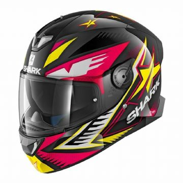 Shark Skwal 2 Draghal LED Light Up Motorcycle Helmet - KVY Black / Pink / Yellow